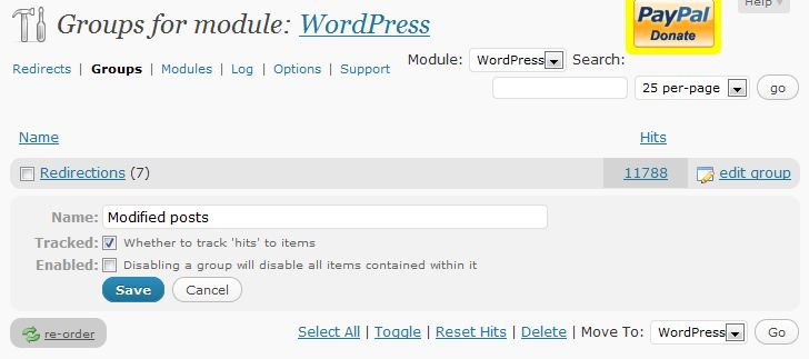 Redirection Problems WordPress 3 - Disable Modified Posts Group
