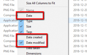 """Disable """"Date"""", Enable """"Date Modified"""""""
