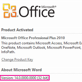 32-bit or 64-bit Microsoft Office version?
