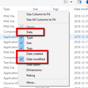 "Disable ""Date"", Enable ""Date Modified"""